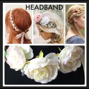 White/Green floral headband 🌼